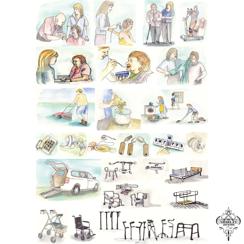Aged care thumbnails – Custom Character Illustration design