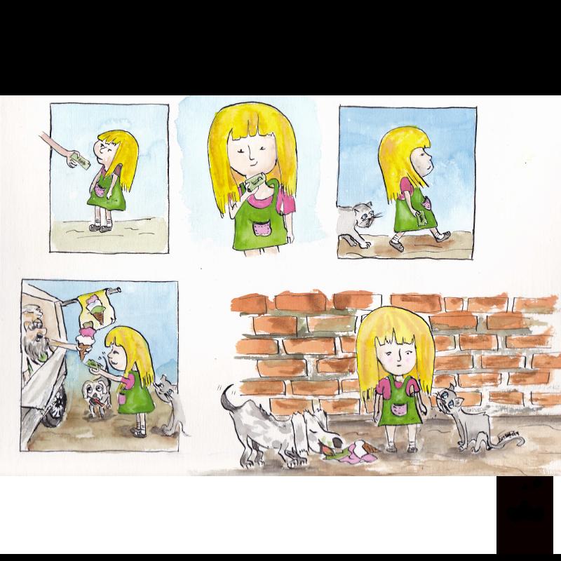 Comic strip illustration story telling – Watercolor Ice-cream